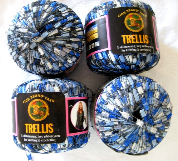 lion brand trellis yarn ocean 16 balls blue white by crochetgal