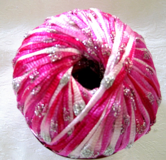 Diamond Lase Ribbon yarn, fushcia pink white with diamond embellishments, bridal ribbon, Ice Yarns,  17510