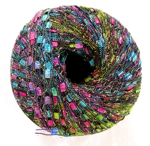 Ladder Ribbon Glitter yarn, JASMINE, pink, blue, green rainbow metallic jewel tones,  railroad yarn, trellis yarn, 86