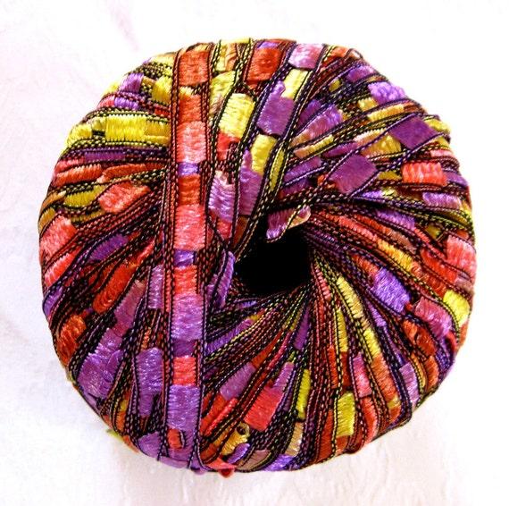 Ladder Ribbon Yarn,  CELEBRATION, purple red yellow rainbow trellis yarn, Maxi 67