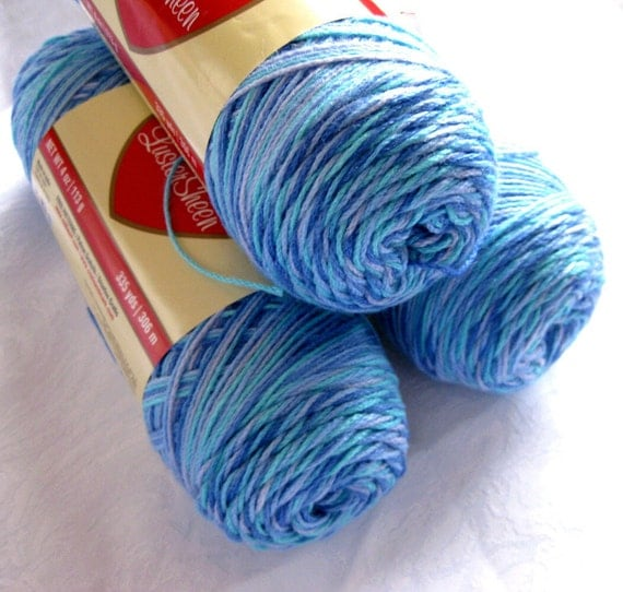 Red Heart Lustersheen, Ocean, shades of blue, 6 balls, Reserved for Daisy