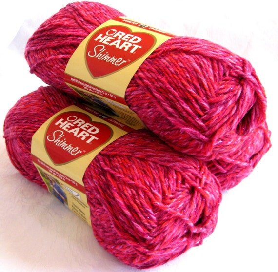 Red Heart Shimmer yarn, bright LIPSTICK pink with metallic thread, worsted weight, sparkly yarn