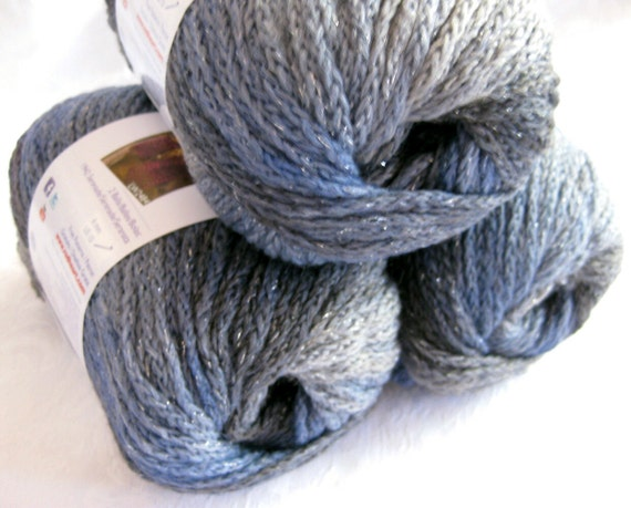 Boutique Midnight MISTY, grey blue worsted weight Wool blend yarn,  metallic hints