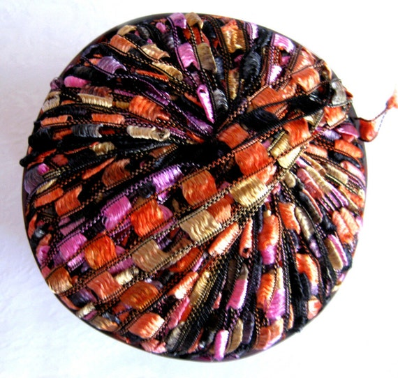 Berlini Ladder Ribbon Yarn,  VEGAS, trellis yarn, black  gold orange purple, Maxi 75