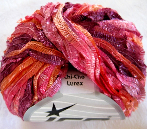 Butterfly ribbon yarn, mauve salmon pink,  Chi-Cho Lurex yarn, Ice Yarns,  11014