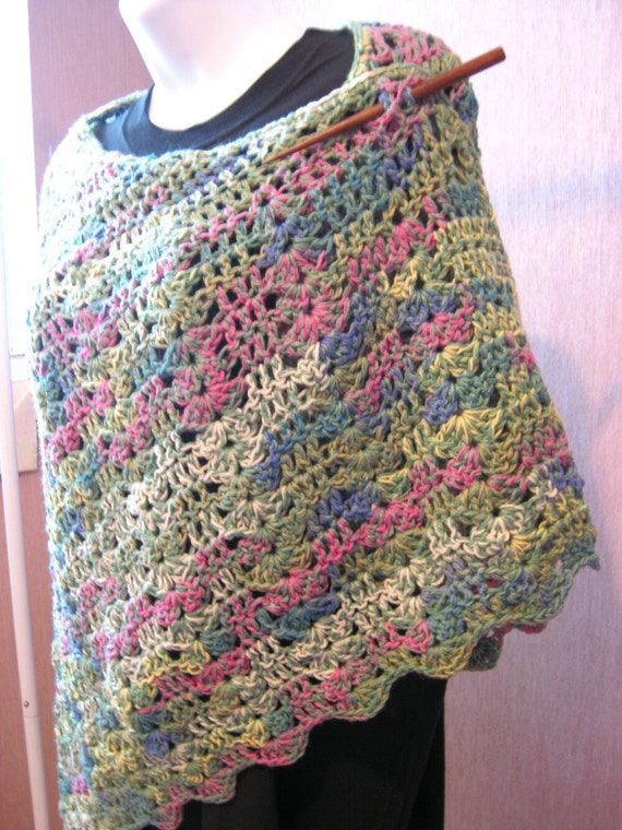 Crocheted Lace Shawl,  bamboo and wool blend, butterfly style, stays on shoulders, ready to ship
