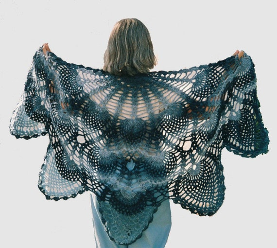 Women's Vintage inspired light weight Pineapple Lace Shawl, blue shades