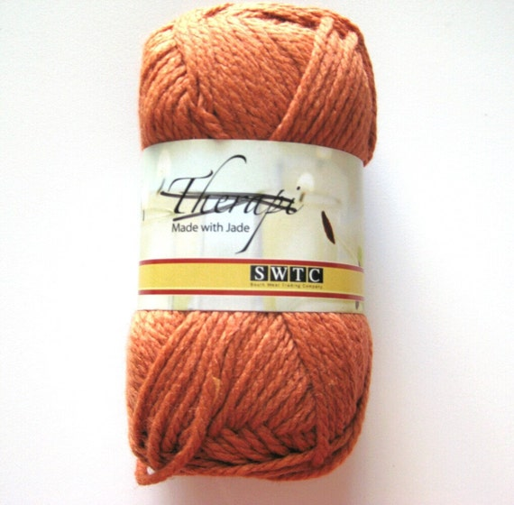 Wool  blend yarn, autumn rusty orange pumpkin, SWTC Therapi, antibacterial yarn, worsted weight