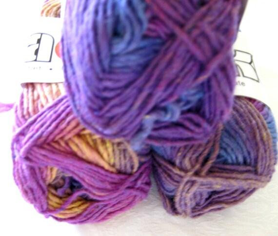 Soy silk wool blend yarn, SWTC Karaoke 198 New Splash, shades of blue orchid purple gold, felting yarn
