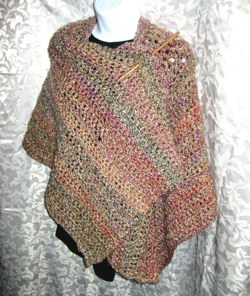 Crochet Patterns Shawls And Wraps : Ruana Wrap or Blanket Shawl PDF Crochet Pattern Your by ...