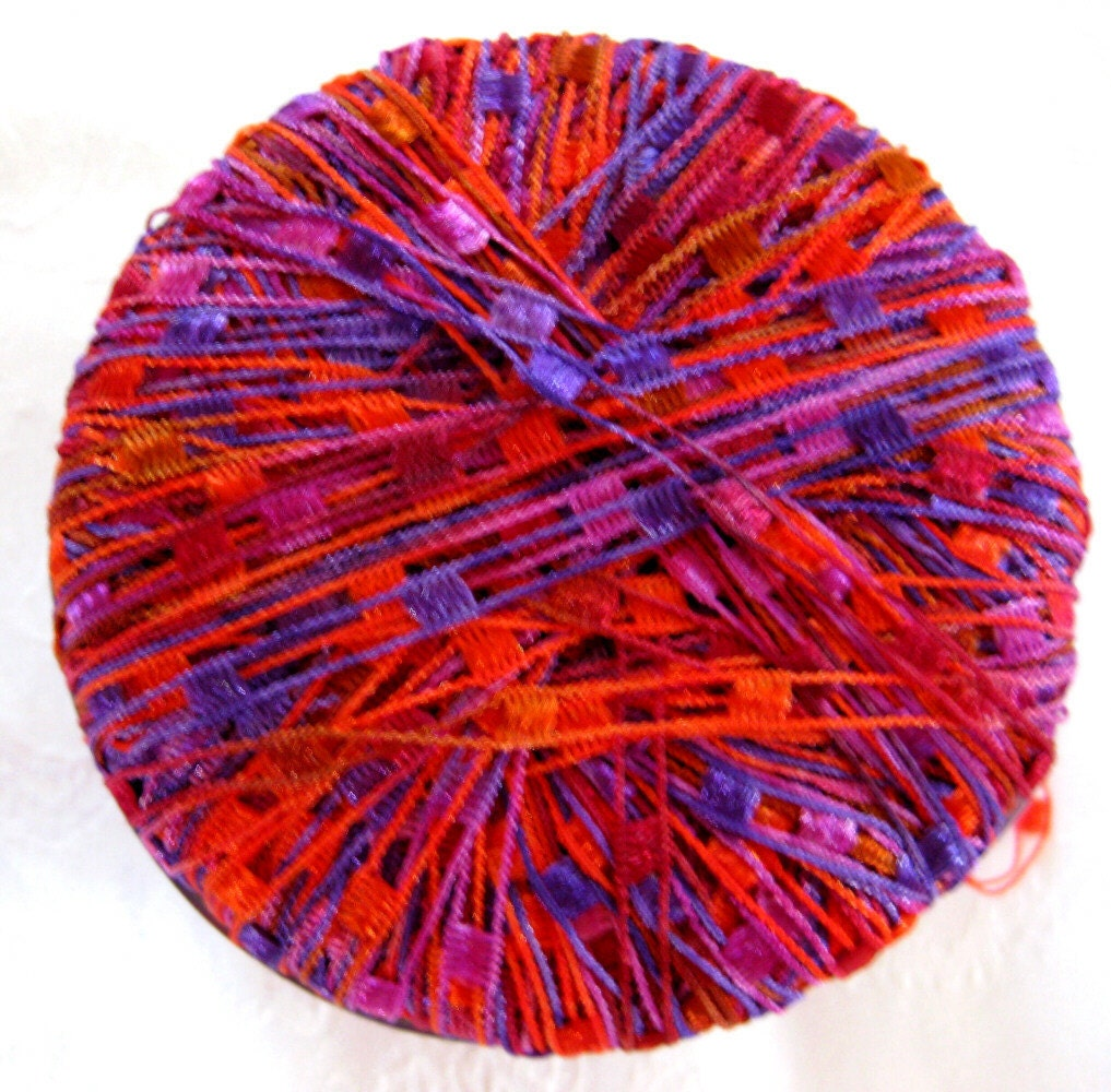 Ladder Ribbon Yarn Red Purple Pink IRoss Yarns 1 By Crochetgal