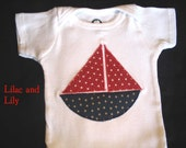 SALE Red White and Blue Sailboat Onesie