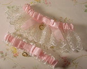 Irish LACE  wedding garter set pink and white Claddagh Charm HEIRLOOM ELEGANCE