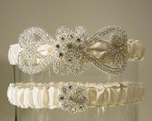 wedding garters Empress set white  silver and white wedding