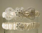 EMPRESS wedding garter SET  ivory  PETERENE Original silver and Ivory wedding