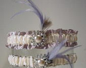 wedding garter set Claire de Lune wedding Garter set a Peterene design  feathers and bling Hollywood