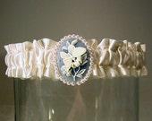 wedding garter Butterfly Kisses Cameo garter A  Peterene  Original Design