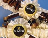 wedding garter set Guinness Bottle Cap Garter set wedding Keepsake a Peterene Design