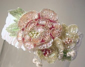 wedding garter set   Victorian roses  pastel pink green yellow