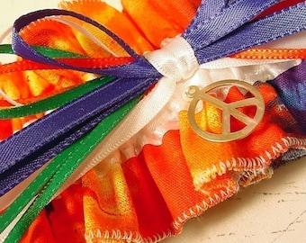 Hippie Tie Dye  Wedding garter  Keepsake  PEACE
