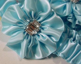wedding garter set  BASHFUL BLUE BLING design rhinestones and crystals