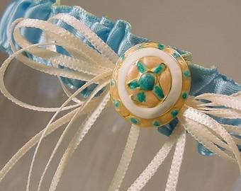 BEACH BRIDE  garter  A PETERENE original design  tropical starfish