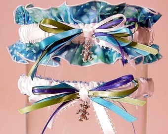 wedding garter set Hippie Tie dye DEAD HEAD garter set combo 2 Grateful Dead inspired something blue