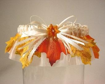 wedding garter FALL BRIDE a Peterene Wedding Garter for Autumn or HOMECOMING