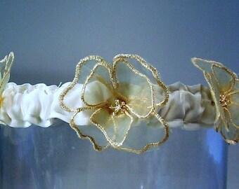 wedding garter GOLDEN IVORY organza ETERNITY wedding garter  a Peterene original design
