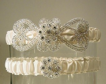EMPRESS wedding garter SET  ivory  PETERENE Original silver and Ivory wedding
