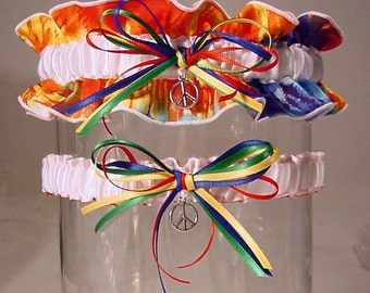 wedding garter set Hippie Tie Dye  Wedding garter Combo 2 Set Keepsake  n Toss PEACE