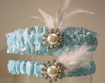 Wedding garter Claire de Lune in blue a Peterene Original  feathers and bling Hollywood