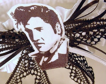 wedding garter The ORIGINAL ELVIS at your WEDDING toss garter black and white satin and lace. Prom