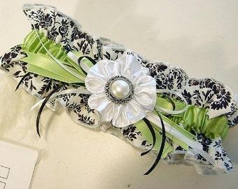 KIWI KISSES damask garter a PETERENE ORIGINAL wedding or prom