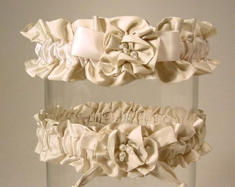 SILKEN DREAM garter set WHITE or  ivory dupioni silk