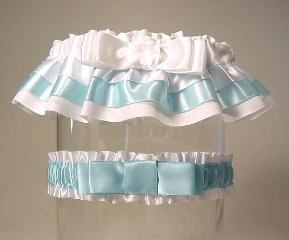 The ORIGINAL TAILORED garter  weddingT2 tone Your color choice