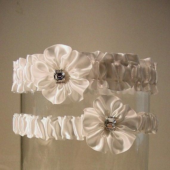 The original BASHFUL BRIDE BLING  wedding garter set  a Peterene design Rhinestones and Crystals