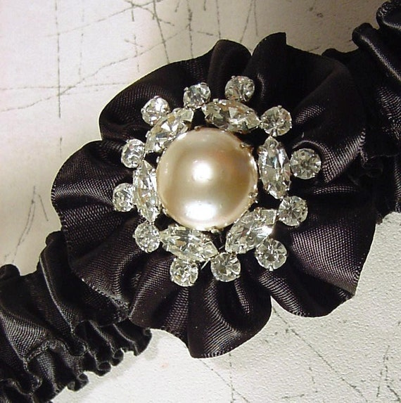 wedding garter ROYAL BLING in black  rhinestones and crystals and pearls