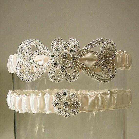 wedding garters Empress set white  silver and white wedding