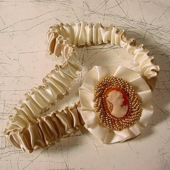 wedding garter Camilla of the Cameo garter A  Peterene  Original Design limited edition