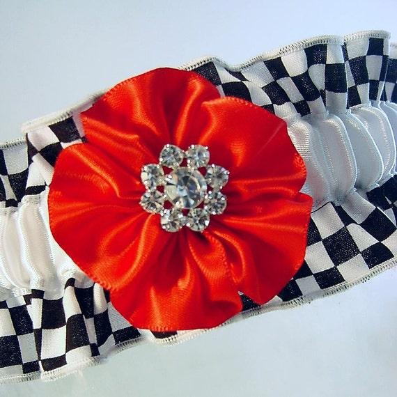 Wedding garter Black and white Check Garter WEDDING or PROM or FUN Damask wedding