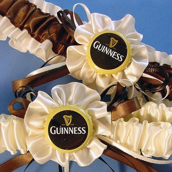 wedding garter set Guinness Bottle Cap Garter set wedding Keepsake a Peterene Design