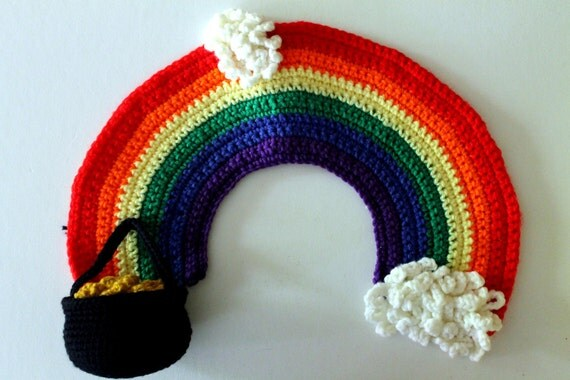 Vintage Crocheted Pot of Gold Rainbow