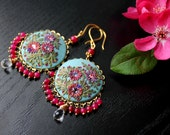 Rose Quartz and Ruby Jade gemstone earrings in brass - Turquoise and deep pink Clay floral earring - The Parade of the Pink Blossoms