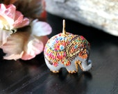 Lovely handmade Elephant Pendant - Focal pendant in shimmery silver and jewel tones - The Prince's Ride