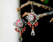 Garnet red CZ cluster earrings with Silver grey quartz and clay details - The Silver Orchid