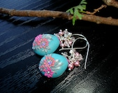 Pink Freshwater Pearl, Rose Quartz and Polymerclay earrings in sterling silver -  On silver wings