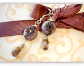 Smokey Quartz earring with Polymer clay bead in 14k gold fill - Hot Cocoa