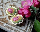 Jewel Tones Stud earrings with swarowski crystal and  Polymer clay in gold cameo setting - Flowers for Mom