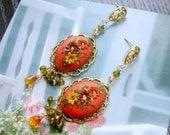 Multigemstone Cluster gold earrings - Padparadscha sapphire, Sage CZ , peridot, champagne quartz in gold earrings - A Secret Spring garden